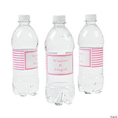 Personalized Candy Pink Striped Water Bottle Labels