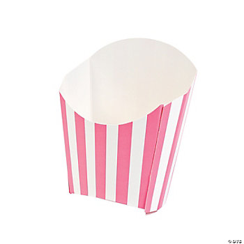 Candy Pink Striped Fry Containers