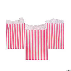 Candy Pink Striped Treat Bags