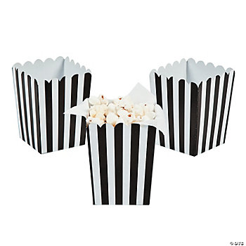 Mini Black Striped Popcorn Boxes