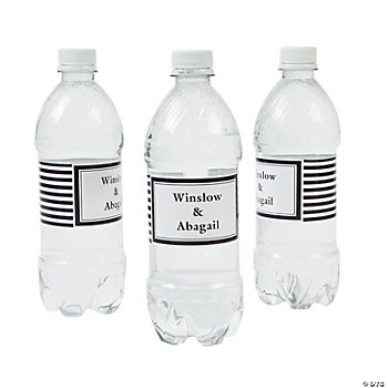 Personalized Black Striped Water Bottle Labels