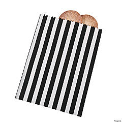 Paper Black Striped Treat Bags