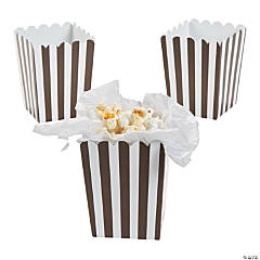 Mini Chocolate Brown Striped Popcorn Boxes