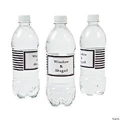 Personalized Chocolate Brown Striped Water Bottle Labels