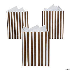 Chocolate Brown Striped Treat Bags