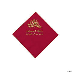 Movie Night Red Personalized Beverage Napkins with Gold Print