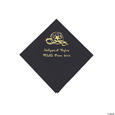 Movie Night Black Personalized Beverage Napkins with Gold Print