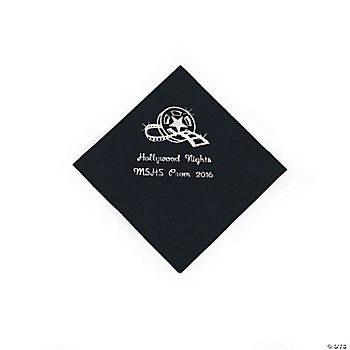 Personalized Movie Night Black Beverage Napkins