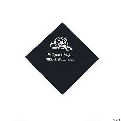 Movie Night Black Personalized Beverage Napkins with Silver Print