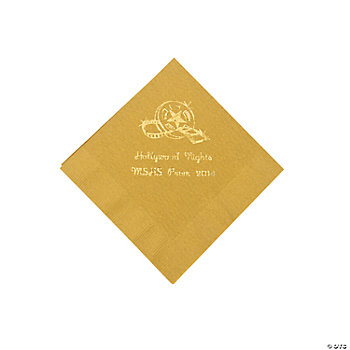 Personalized Movie Night Gold Beverage Napkins
