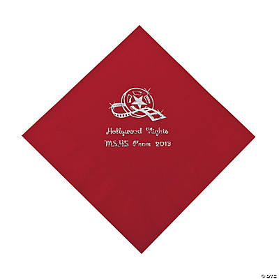 Movie Night Red Personalized Luncheon Napkins with Silver Print