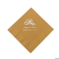 Personalized Movie Night Gold Lunch Napkins