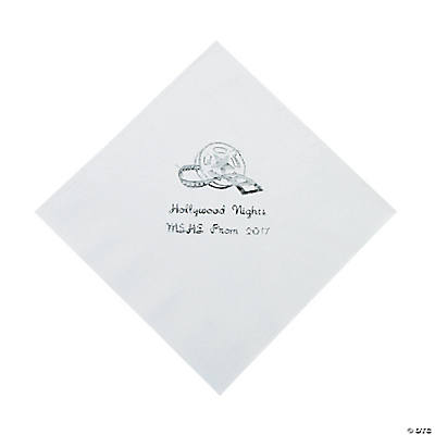 Movie Night White Personalized Luncheon Napkins with Silver Print