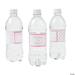 Candy Pink Polka Dot Personalized Water Bottle Labels