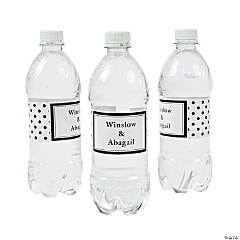 Personalized Black Polka Dot Water Bottle Labels