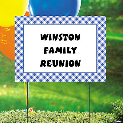 Personalized Blue Gingham Yard Sign