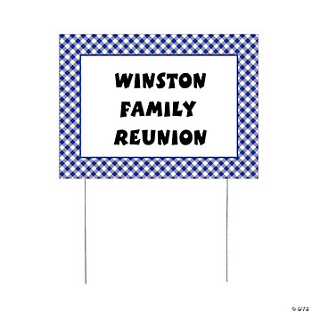 Personalized Purple Gingham Yard Sign