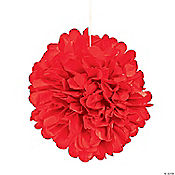 Red Pom-Pom Tissue Decorations