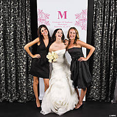Personalized Hot Pink Monogram Photo Booth Backdrop
