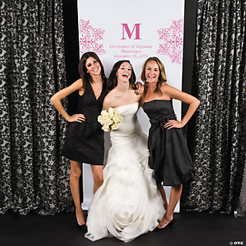Personalized Hot Pink Monogram Photo Backdrop Banner