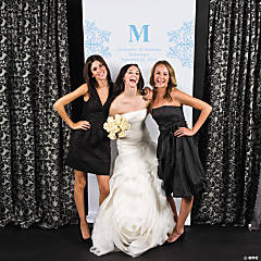 Personalized Light Blue Monogram Photo Booth Backdrop