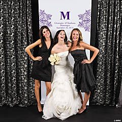 Personalized Purple Monogram Photo Backdrop Banner