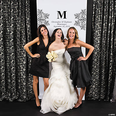 Personalized Black Monogram Photo Booth Backdrop