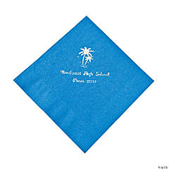 Palm Tree Blue Personalized Luncheon Napkins with Silver Print