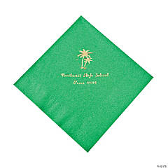 Palm Tree Green Personalized Luncheon Napkins with Gold Print