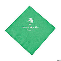 Palm Tree Green Personalized Luncheon Napkins with Silver Print