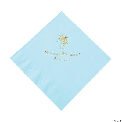 Palm Tree Light Blue Personalized Luncheon Napkins with Gold Print