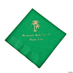 Palm Tree Green Personalized Beverage Napkins with Gold Print