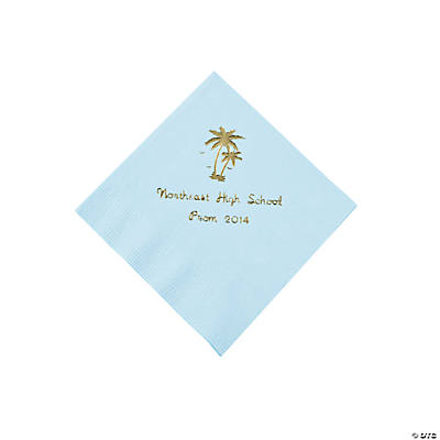 Palm Tree Light Blue Personalized Beverage Napkins with Gold Print