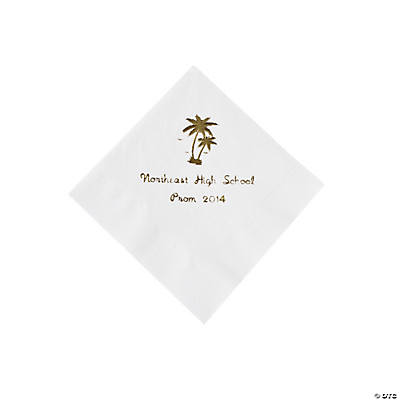 Palm Tree White Personalized Beverage Napkins with Gold Print