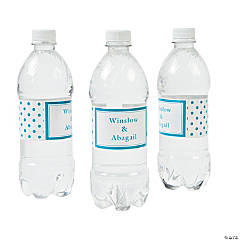 Personalized Turquoise Polka Dot Water Bottle Labels