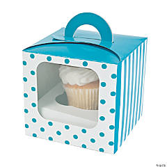 Turquoise Polka Dot Cupcake Boxes with Handle