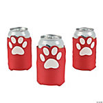 Red Paw Print Can Covers