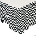 Black & White Checkered Pleated Table Skirt