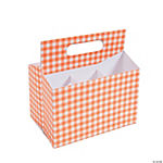 Orange Gingham Tableware Caddy