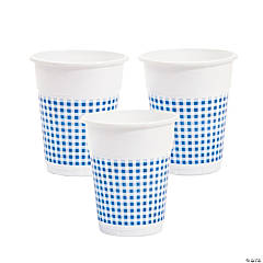 Blue Gingham Disposable Cups