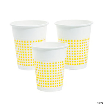 Yellow Gingham Disposable Cups