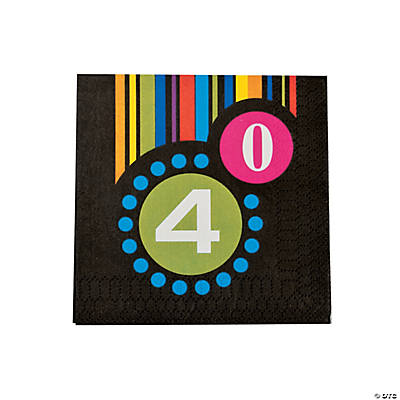 """40th"" Birthday Beverage Napkins"