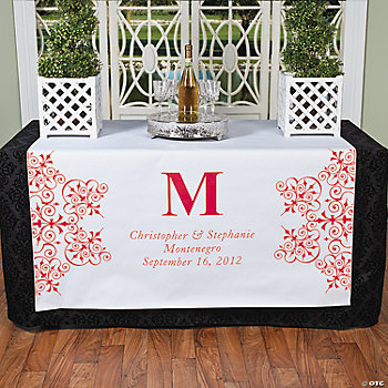 Personalized Red Monogram Table Runner