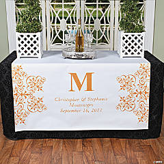 Personalized Orange Monogram Table Runner