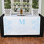 Personalized Light Blue Monogram Table Runner