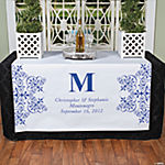 Personalized Blue Monogram Table Runner