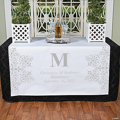 Personalized Silver Monogram Table Runner
