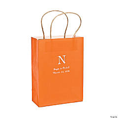 Roman Monogram Orange Kraft Bags