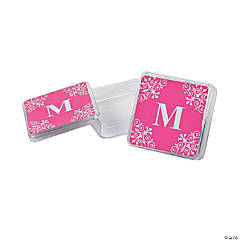 Personalized Hot Pink Monogram Square Containers