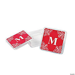 Personalized Red Monogram Square Containers